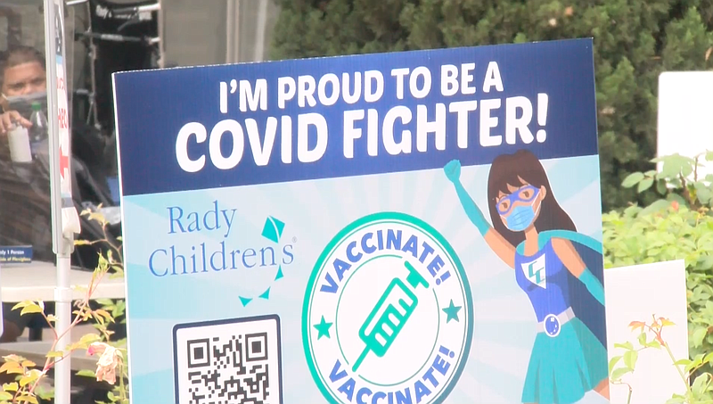 A sign is pictured outside of Rady Children's hospital reading