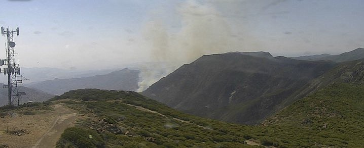 A fire burns in Canebreak Canyon in San Diego's East County, June 19, 2021.