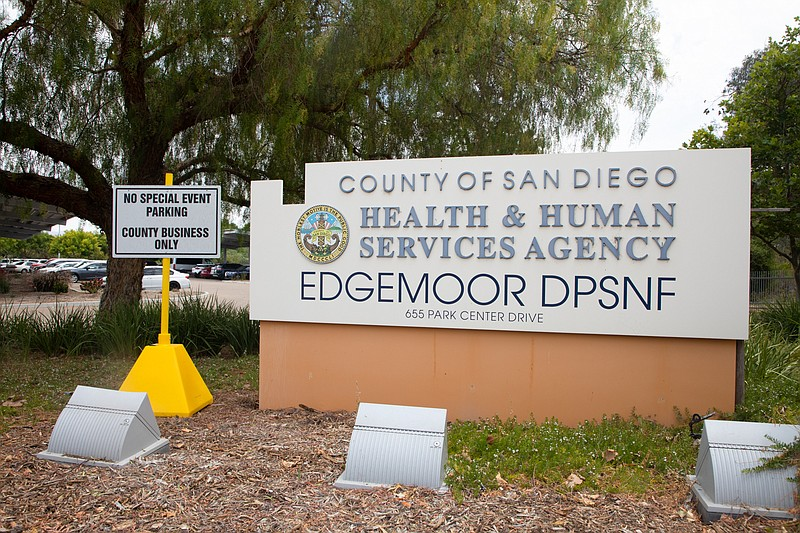 A sign outside of the San Diego County-run Edgemoor Hospital in Santee is sho...