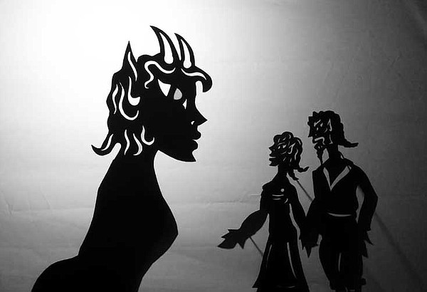 A still from the shadow puppetry work