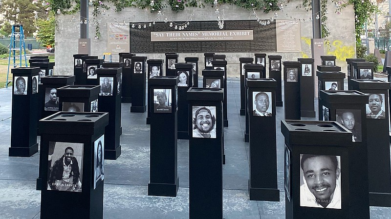 """The """"Say Their Names"""" Memorial exhibit at the San Diego African American Muse..."""