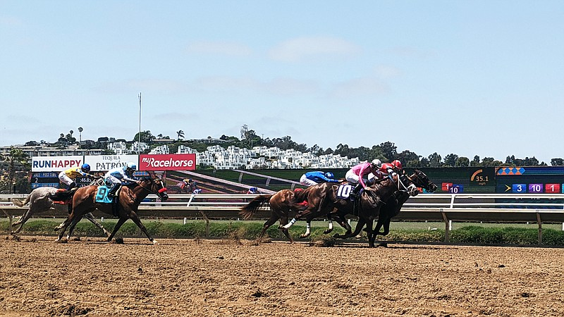Horses on the second race of the day on Open Day at the Del Mar Racetrack, Ju...