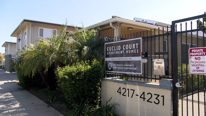 Euclid Court Apartments, an affordable housing complex in City Heights is pic...