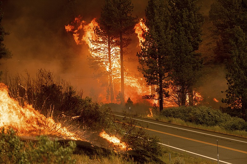 The Tamarack Fire burns in the Markleeville community of Alpine County, Calif...