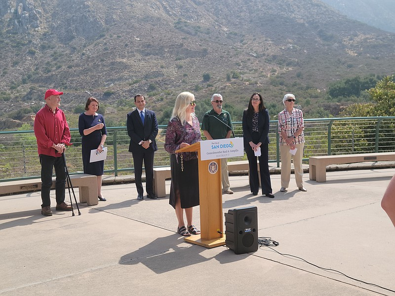 Laurie Yoler, mother of Max Lenail, speaks at Mission Trails Regional Park on...