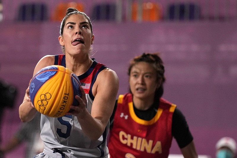 Kelsey Plum, of the United States, shoots during a women's 3-on-3 basketball ...