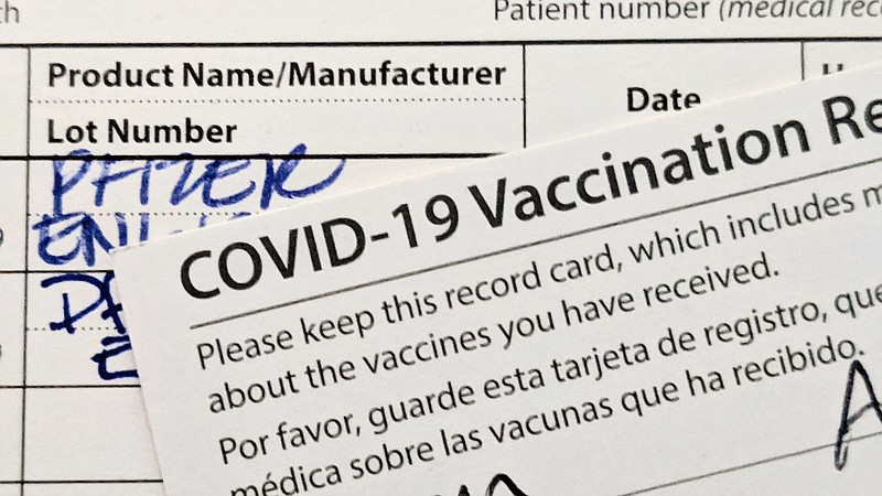 Photo of COVID-19 vaccine cards taken on May 9, 2021.