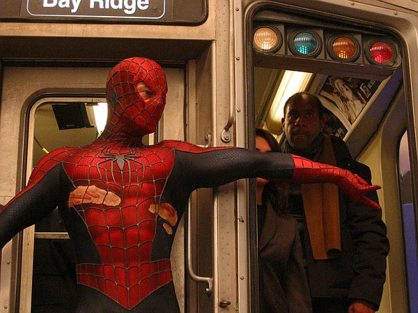 Brad Martin in costume to double as Spider-Man.