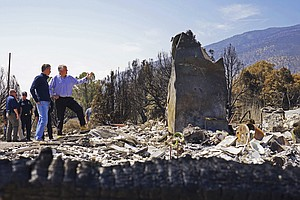 Photo for California, Nevada Governors Tour Site Of Huge Wildfire