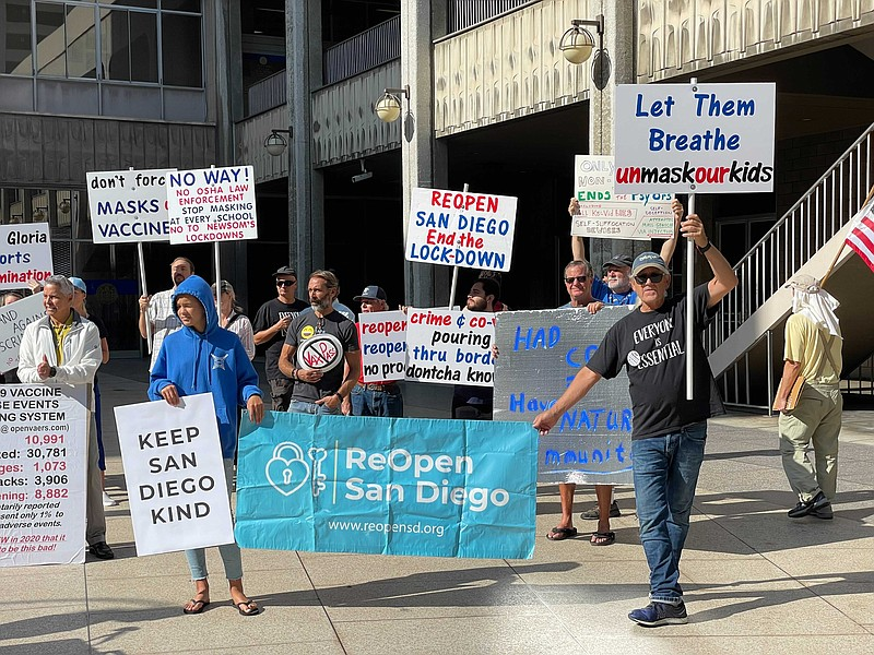 Reopen San Diego holds rally outside of San Diego City Hall on July 30, 2021.