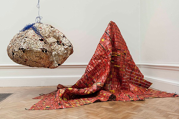 El Anatsui's work of reclaimed, found objects,