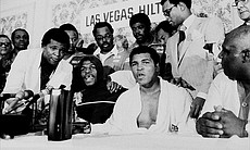 Press conference after Leon Spinks beat Muhamma...