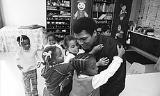 Muhammad Ali on a visit to his old grammar scho...