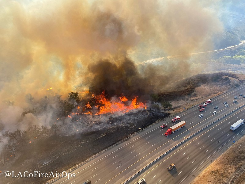 In this aerial photo released by the Los Angeles County Fire Department Air O...
