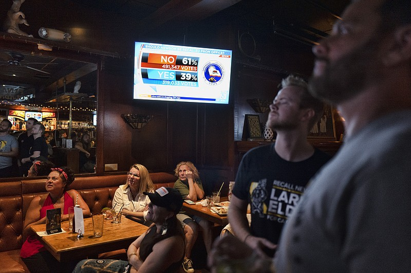 A group of pro-recall voters gather to watch early results of the California ...