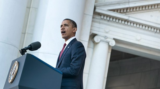 President Obama speaks during Veterans Day ceremonies at Arlington National Cemetery in Virginia on Sunday.