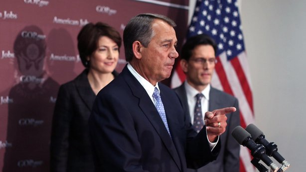 House Speaker John Boehner, R-Ohio, takes questions as House Majority Leader Eric Cantor, R-Va., right, and Rep. Cathy McMorris Rodgers, R-Wash., look on during a Capitol Hill news conference on Wednesday.