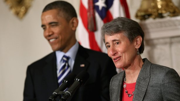 REI CEO Sally Jewell delivers remarks after being nominated by President Obama to be the next secretary of the interior on Wednesday.