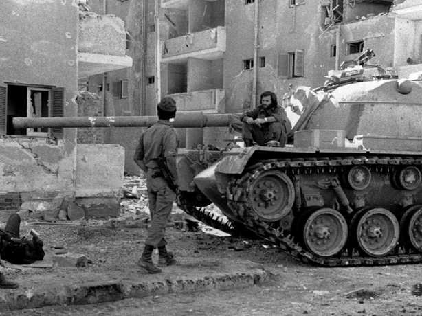 An Israeli tank tanks a break near Suez City in Egypt on Oct. 29, 1973. The Egyptian military made advances agains Israeli forces in the first days of the war, but Israel's army eventually recovered.