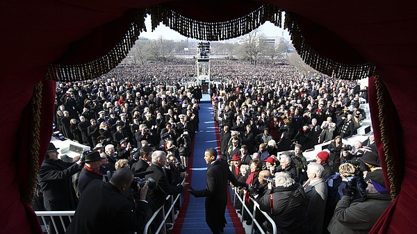 Barack Obama arrives at his 2009 inauguration to become  the 44th president o...