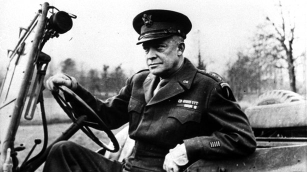 Dwight Eisenhower allegedly had an affair with his female driver while he was the supreme allied commander during World War II. He's shown here at the wheel of his jeep in France in 1944.