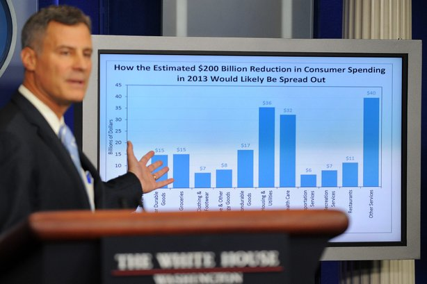 Alan Krueger, chairman of the president's Council of Economic Advisers, warns on Nov. 26, that consumer spending will drop if Congress and the White House fail to reach a deal on spending cuts and tax increases.