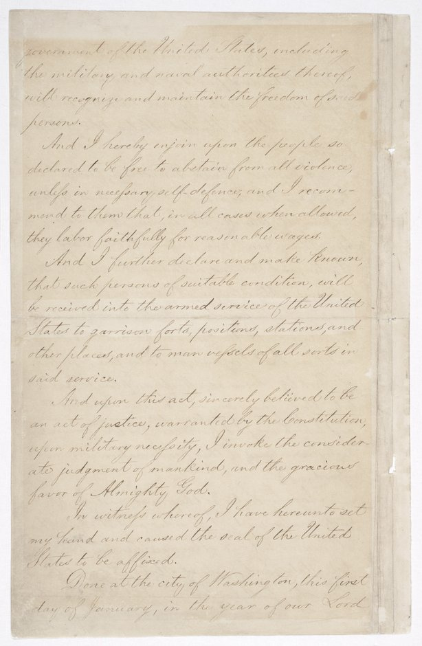 Page four of the Emancipation Proclamation on display at the National Archives in Washington, D.C.
