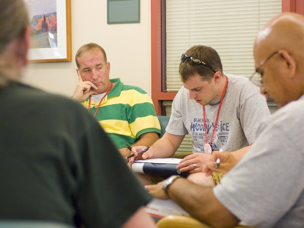 Veterans participate in a therapy session for post-traumatic stress disorder at the VA center in Menlo Park, Calif.