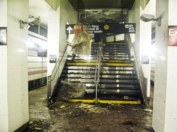The 1 train platform of the South Ferry subway station was flooded by seawater during Superstorm Sandy.