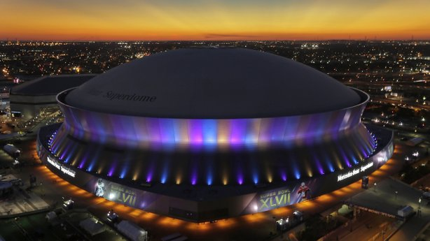The Superdome, where the NFL Super Bowl XLVII football game between the San Francisco 49ers and Baltimore Ravens will be played, is seen at sunset on Friday in New Orleans.
