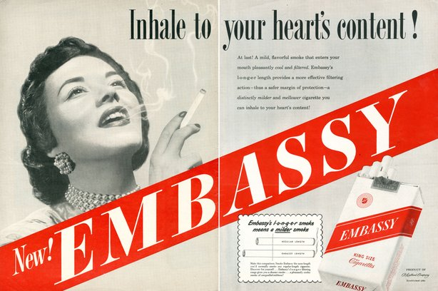 Before the surgeon general's 1964 report, people didn't know about the dangers of smoking, as this 1949 Embassy cigarette ad reveals.