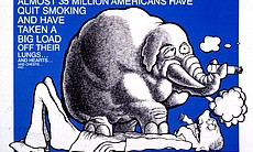 Like an elephant on your chest: a 1983 anti-smoking ad from the American Lung Association.