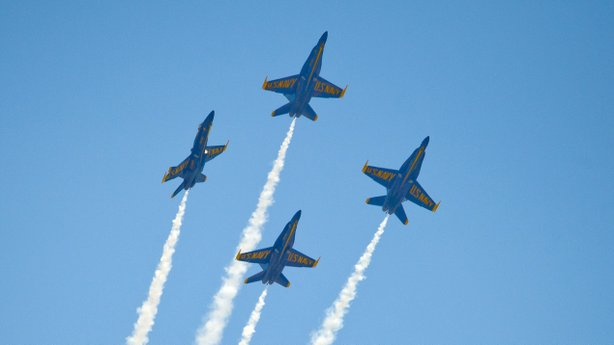 The U.S. Navy's Blue Angels soar over the Florida Keys during a March 23 air show. The group has