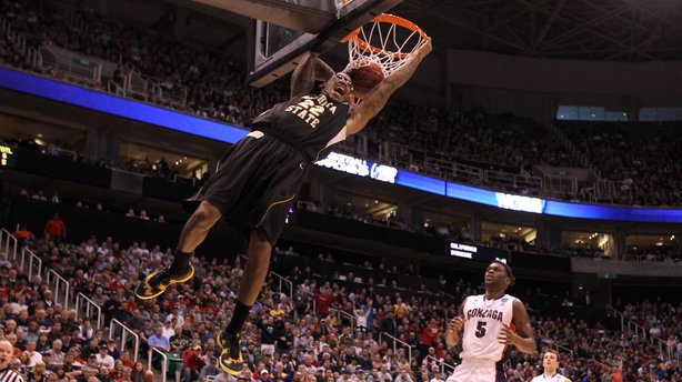 Carl Hall No. 22 of the Wichita State Shockers dunks the ball in the first half while taking on the Gonzaga Bulldogs during the third round of the NCAA men's basketball tournament in Salt Lake City Saturday.