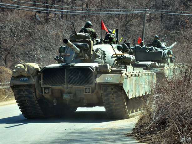 South Korean army tanks during military training in the border city of Paju on Friday.