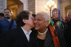 At San Francisco's City Hall on Wednesday, supporters of gay marriage celebra...
