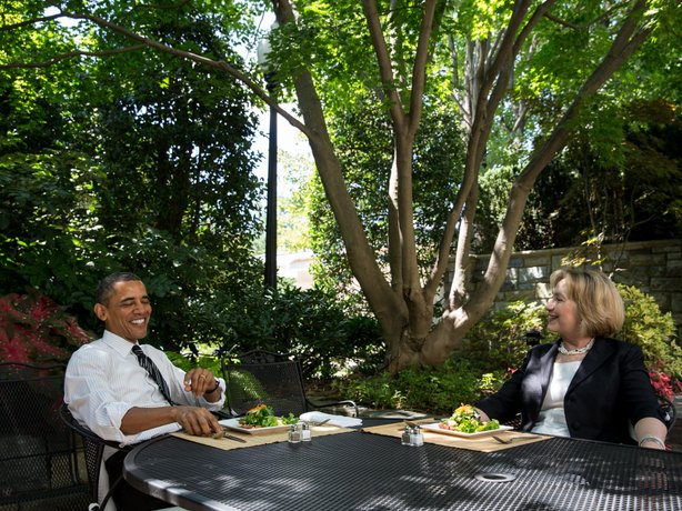 President Barack Obama has lunch with former Secretary of State Hillary Clinton on the patio outside the Oval Office, July 29, 2013.