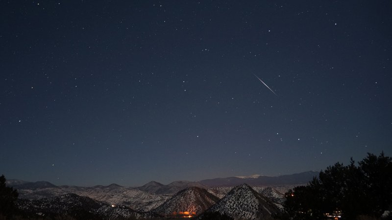 The Quadrantid meteor shower is seen shortly after 5 a.m. on Jan 3, 2013. Thi...