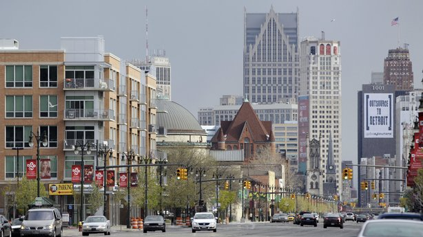 Woodward Avenue runs through Midtown, a Detroit neighborhood that is reviving in the midst of the larger city's decline. In the background is downtown Detroit.