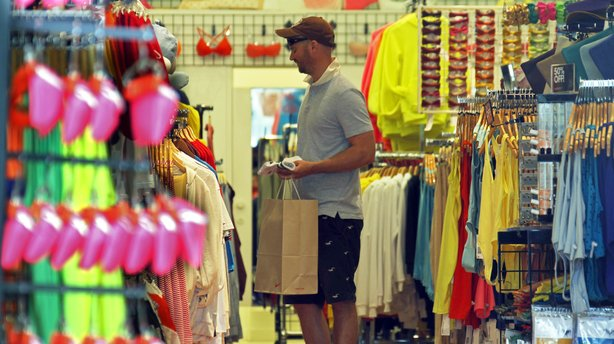 A man views merchandise at an American Apparel store on the Third Street Promenade in Santa Monica, Calif., on April 24, 2012. Each year, the company makes more than 40 million articles of clothing out of their L.A.-area factory.