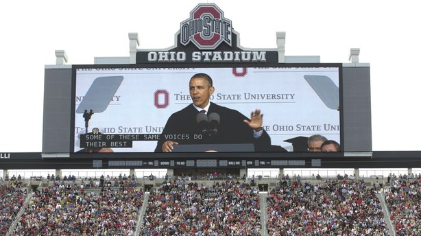 "President Obama's commencement speeches seem to be his real State of the Union addresses. On May 5, he told Ohio State students that they were graduating into a ""healing"" economy."