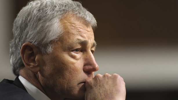 Chuck Hagel testifies before the Senate Armed Services Committee during his confirmation hearing for defense secretary on Jan. 31. The committee this week approved Hagel on a party line vote, but Senate Republicans are now filibustering the nomination.