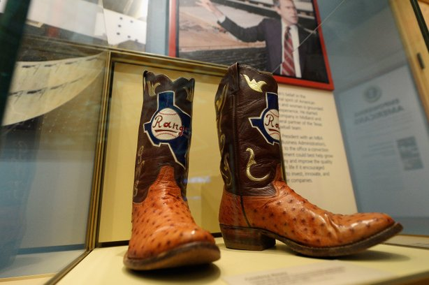 Boots commemorating George W. Bush's tenure as general managing partner of the Texas Rangers.