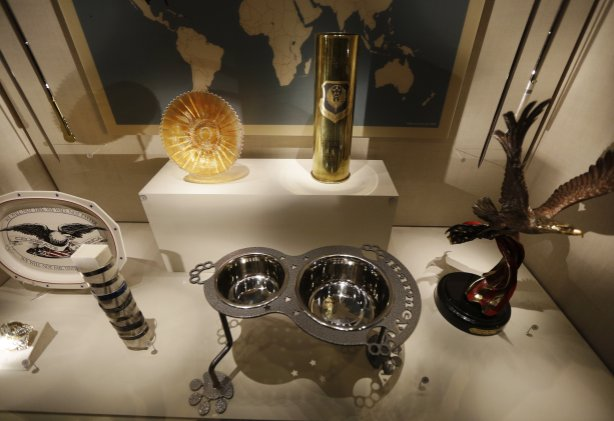 An ornate dog dish is among gifts given to President George W. Bush seen on display at the library.