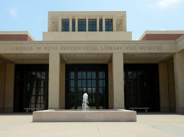 The main entrance courtyard at the George W. Bush Presidential Library and Museum in Dallas. The museum uses everything from news clips to interactive screens to artifacts to tell the story of Bush's eight years in office.