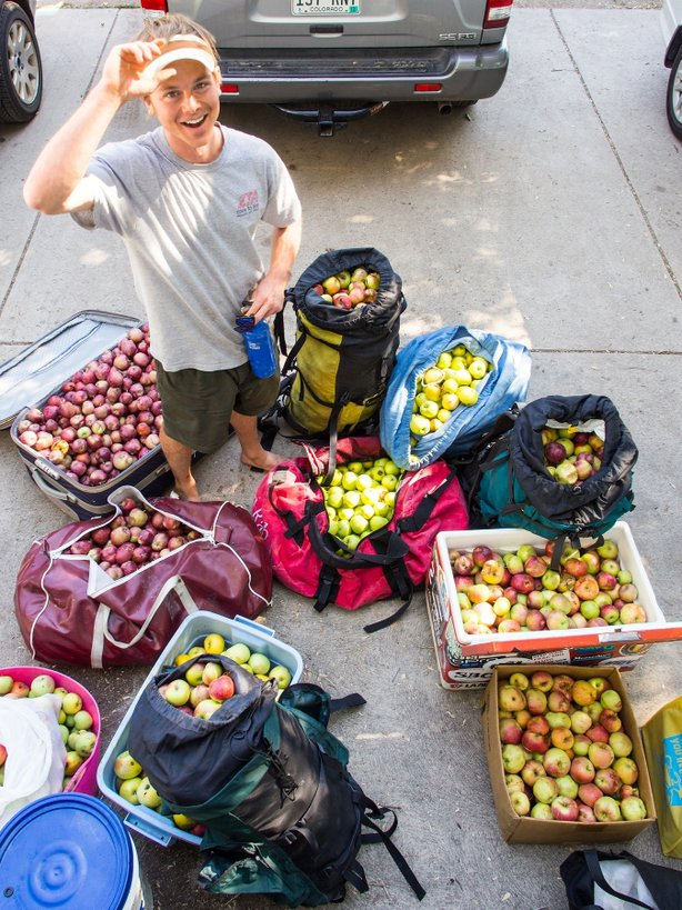 Jeff Wanner stands among the 500 pounds of apples he picked from neighborhood trees in a couple hours with Falling Fruit co-founder Ethan Welty in Boulder, Colo., last fall.