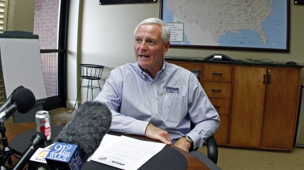 In a file photo from April, Jimmy Haslam, CEO of Pilot Flying J, discusses accusations of rebate fraud. Today, Haslam said that an audit found problems with only a small number of its customers' accounts.