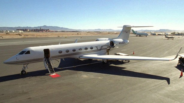 A Gulfstream V jet sits on a Las Vegas tarmac. The U.S. Air Force announced a $50 million contract to maintain its planes Thursday.
