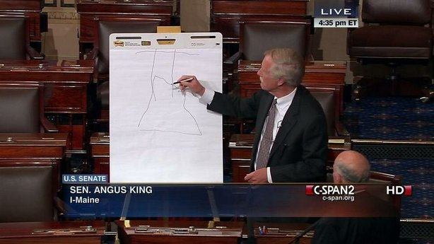 Sen. Angus King (I-Maine) draws something on the floor of the Senate.