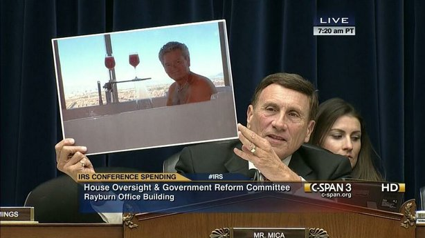 Rep. John Mica (R-Fla.) with a photo poster at a hearing.